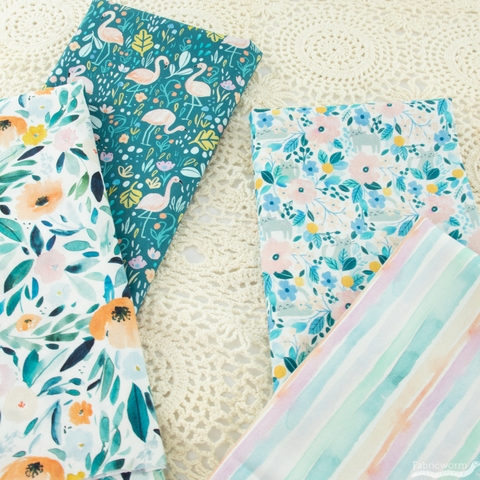Clara Jean Design for Dear Stella, Summer Lovin, Kitty Floral Multi