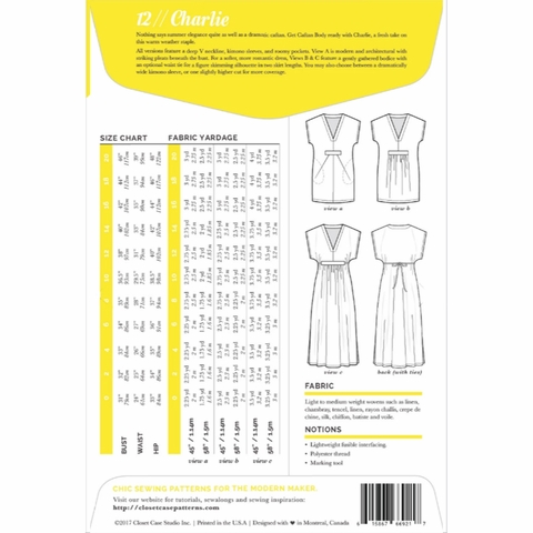 Closet Core, Sewing Pattern, Charlie Caftan