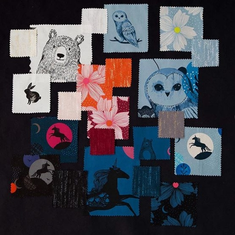 AVAILABLE FOR PREORDER, Sarah Watts for Ruby Star Society, Crescent, Forest Dot Soft Blue