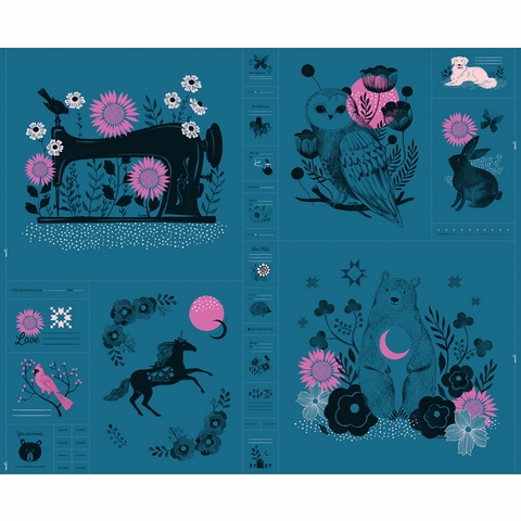 """COMING SOON, Sarah Watts for Ruby Star Society, Crescent, Forest Teal (36"""" Panel)"""
