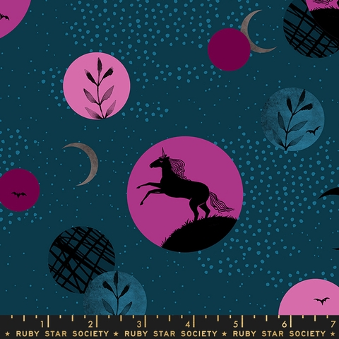AVAILABLE FOR PREORDER, Sarah Watts for Ruby Star Society, Crescent, Unicorn Moon Dark Teal
