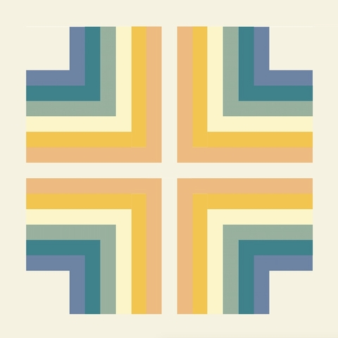 Corners Neutral Rainbow Quilt Kit Featuring Birch Organic Solids From SkyClad Quilts