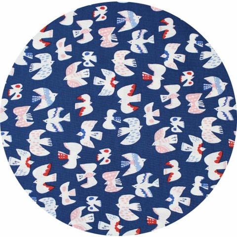 Cosmo Textiles, SHEETING, Lovely Doves Navy