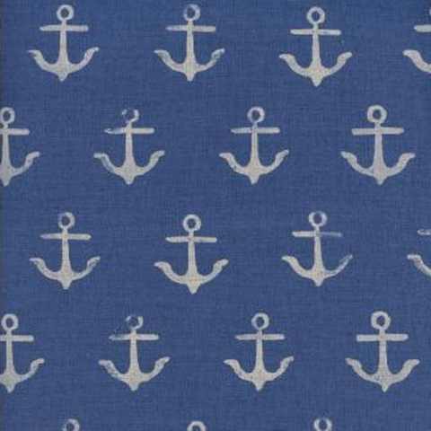 Cotton and Steel, SS Bluebird Canvas, Melody Anchor Blue