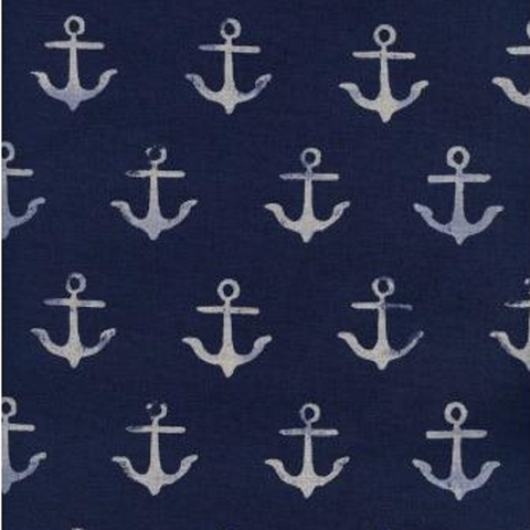 Cotton and Steel, SS Bluebird Canvas, Melody Anchor Navy