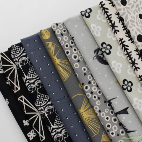 Cotton + Steel, Black & White, Bit Of Gold Bundle 10 Total