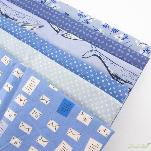 Cotton + Steel Collaborative, Bluebird, Whale Mail Bundle 6 Total