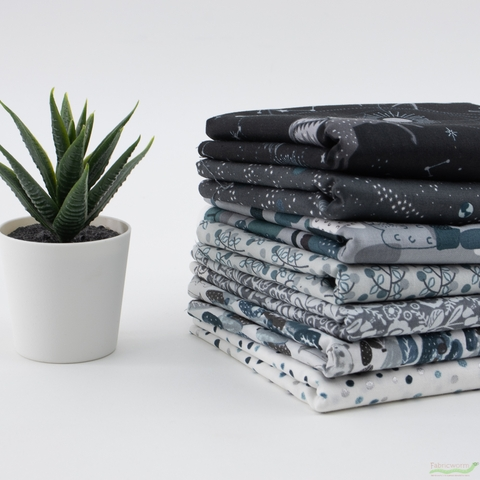 Cotton + Steel Collaborative, Crystal Clear, Polar Night in HALF YARDS 7 Total