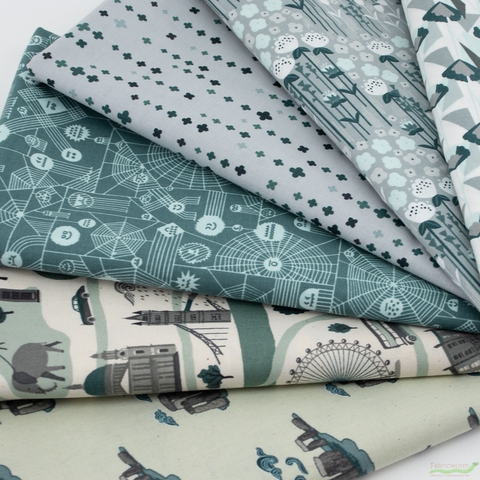 Cotton + Steel Collaborative, Crystal Clear, Slate Fog in HALF YARDS 6 Total