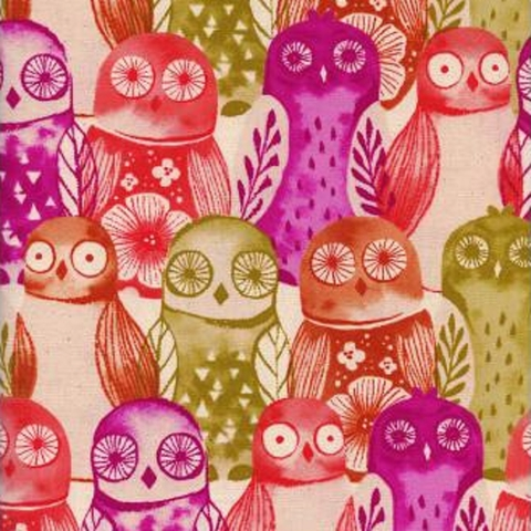 Cotton + Steel Collaborative, Firelight, Wise Owls Fuchsia