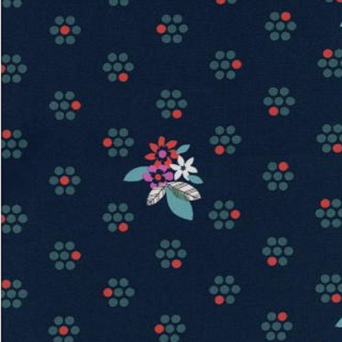 Cotton + Steel Collaborative, Fruit Dots, Fruit Blossoms Navy