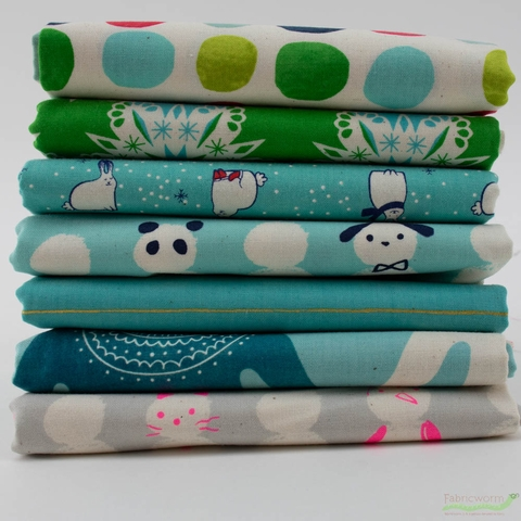 Cotton + Steel Collaborative, Noel, Frosty Blue Bundle 7 Total