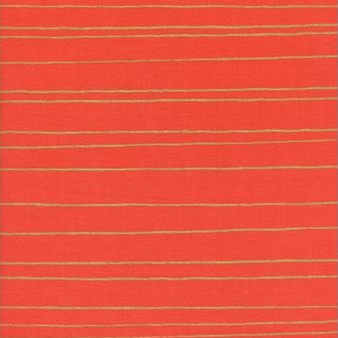 Cotton + Steel Collaborative, Noel, Gold Stripe Red Metallic