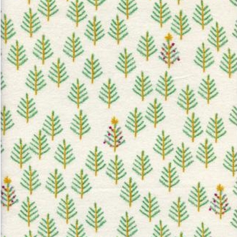 Cotton + Steel Collaborative, Tinsel Brushed Twill, Christmas Forest White