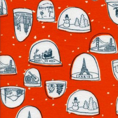 Cotton + Steel Collaborative, Tinsel Brushed Twill, Snow Globes Red