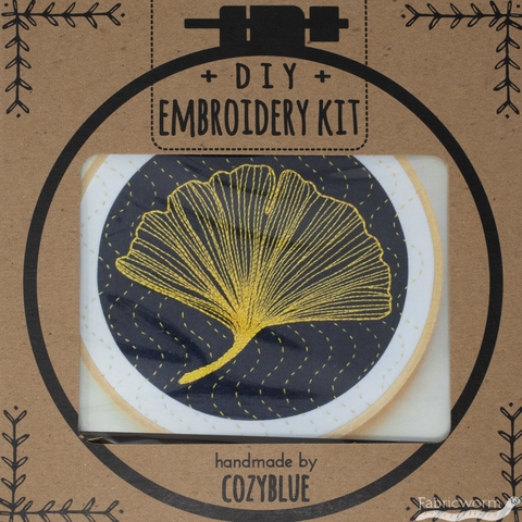 Cozyblue Handmade, Embroidery Kit, Gingko