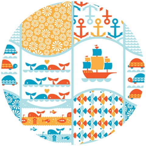 Dan Stiles for Birch Fabrics Organic, Marine Too, Waves Patch