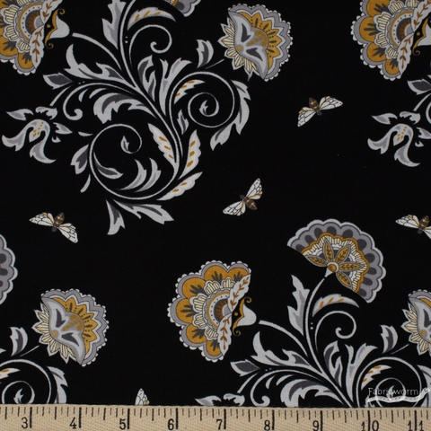 Deb Strain for Moda, Bee Joyful, Bee Blooms Black
