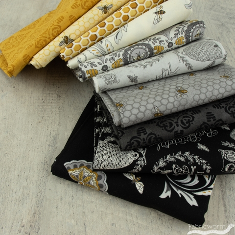 Deb Strain for Moda, Bee Joyful, Bee Hive Damask Black