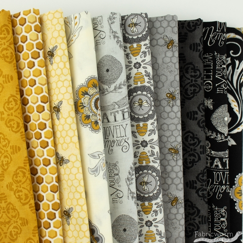 Deb Strain for Moda, Bee Joyful, Bee Hive Damask Gold