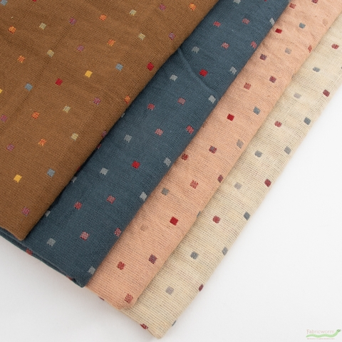 Diamond Textiles, Embroidered Yarn Dyed Wovens, Confetti Bisque