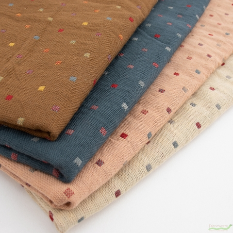Diamond Textiles, Embroidered Yarn Dyed Wovens, Confetti Blue Suede