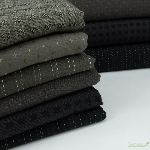 Diamond Textiles, Embroidered Yarn Dyed Wovens, Crosses Grey