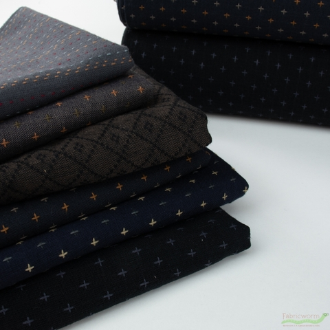 Diamond Textiles, Embroidered Yarn Dyed Wovens, Crosses Navy