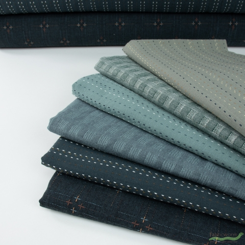 Diamond Textiles, Embroidered Yarn Dyed Wovens, Double Cross Storm