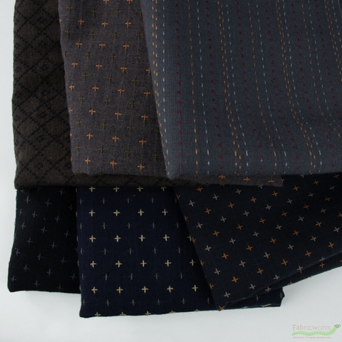 Diamond Textiles, Embroidered Yarn Dyed Wovens, Fence Espresso