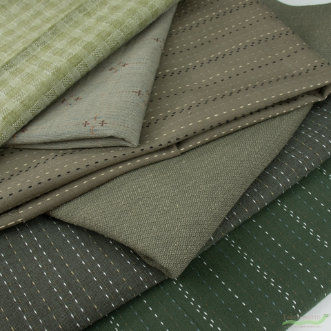 Diamond Textiles, Embroidered Yarn Dyed Wovens, Running Stitch Earth