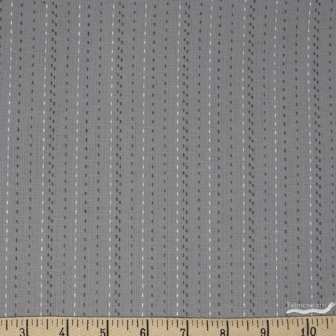 Diamond Textiles, Embroidered Yarn Dyed Wovens, Stitches Light Grey