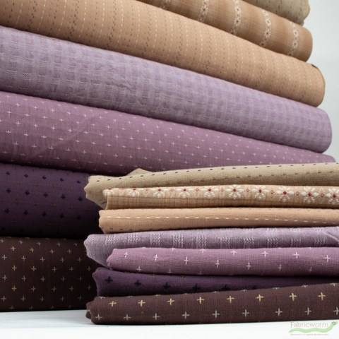 Diamond Textiles, Embroidered Yarn Dyed Wovens, Stitches Taupe