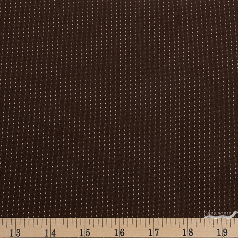 Diamond Textiles, Embroidered Yarn Dyed Wovens, Topstitch Cocoa Brown