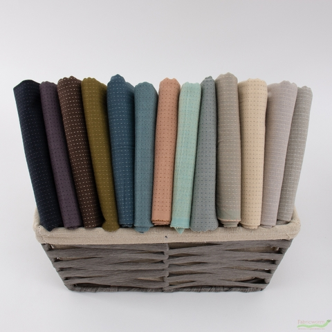 Diamond Textiles, Embroidered Yarn Dyed Wovens, Topstitch French Grey