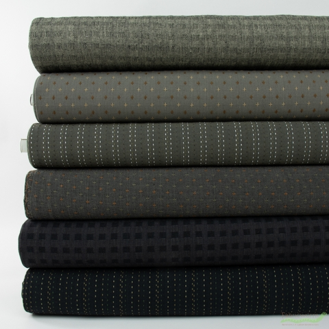 Diamond Textiles, Yarn Dyed Wovens, Carbon in FAT QUARTERS 6 Total