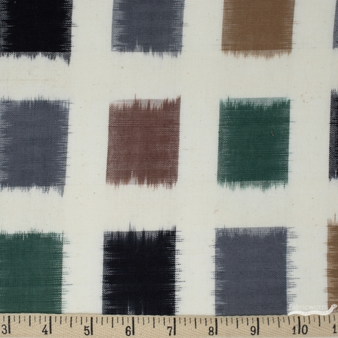 Diamond Textiles, Yarn Dyed Wovens, Ikat Pewter Green/ Natural
