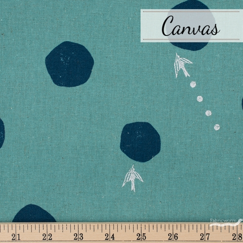 Echino, Winter 2020 Canvas, Water Drop Turquoise Metallic Silver Fat Quarter