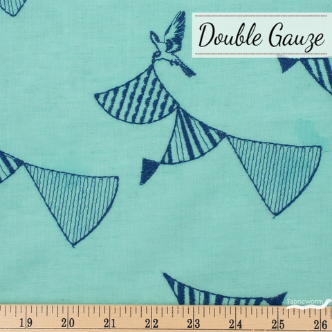 Echino, Winter 2020 Double Gauze, Embroidered Bunting Aqua