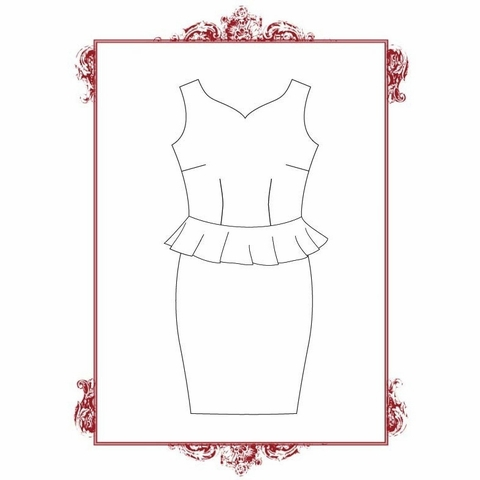 Eliza M Vintage Style, Sewing Pattern, Lucyloo Peplum Wiggle Dress