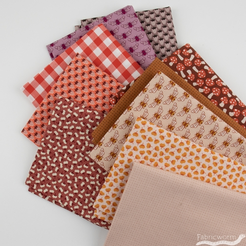 Elizabeth Hartman for Robert Kaufman, Berry Season, Berry Spice FAT QUARTERS 10 Total