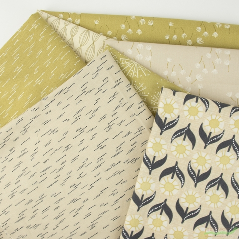 Elizabeth Silver for Camelot Fabrics, Petal Pusher, Blowing Celery