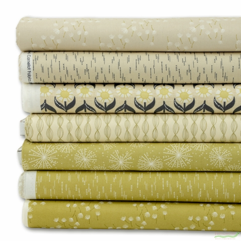 Elizabeth Silver for Camelot Fabrics, Petal Pusher, Celery in FAT QUARTERS 7 Total (PRECUT)