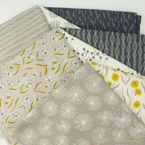 Elizabeth Silver for Camelot Fabrics, Petal Pusher, Grey in FAT QUARTERS 8 Total