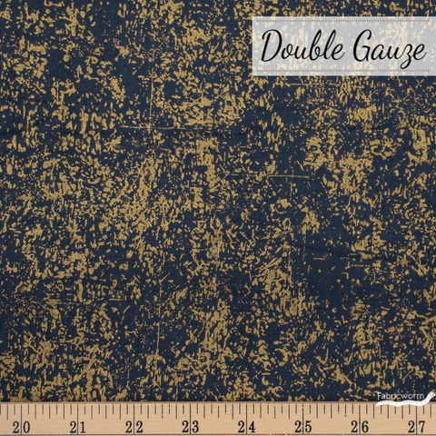 Ellen Baker, Paint Double Gauze, Texture Gold Metallic Navy Fat Quarter