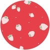 Emily Isabella for Birch Organic Fabrics, Everyday Party, Strawberries Red