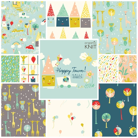 Emily Isabella for Birch Organic Fabrics, Happy Town, KNIT, Happy Sky
