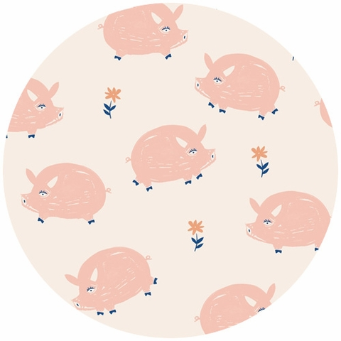 Emily Isabella for Birch Organic Fabrics, Homestead, KNIT, Oink