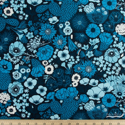 Emily Taylor for FIGO, Prickly Pear, Flowers Blue