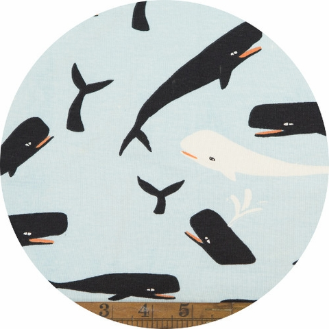 Emily Winfield Martin for Birch Organic Fabrics, Saltwater, KNIT, Whales Sky